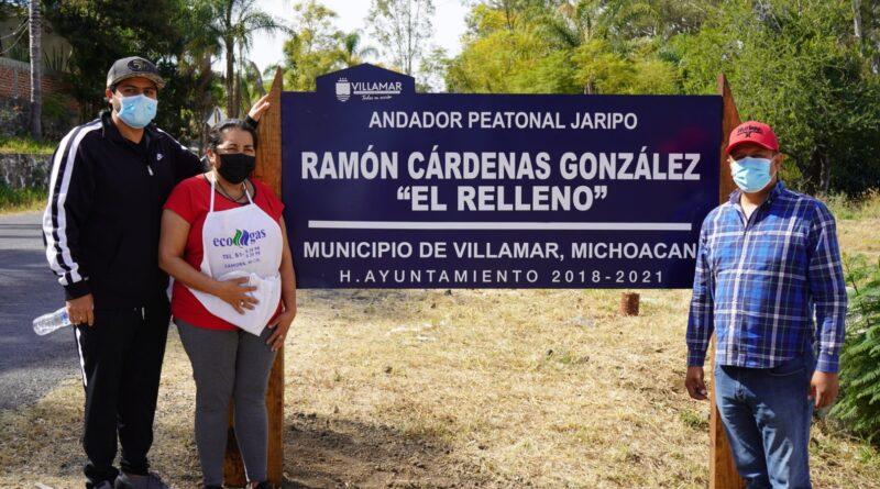 Alfonso Bautista Lúa entrega andador peatonal Ramón Cárdenas González «El Relleno» en Jaripo
